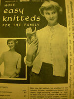 VINTAGE RARE 1950's WOMAN KNITTING  PATTERN FAMILY BOOKLET  JAN 25TH 1958