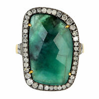 18k Gold 0.65ct Pave Diamond 925 Sterling Silver Rose Cut Emerald Ring Size 7
