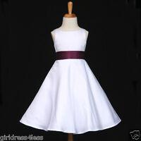 WHITE/PLUM PURPLE EGGPLANT A-LINE FLOWER GIRL DRESS 12M-18M 2 4 6 8 10 12 14 16