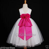 WHITE/FUCHSIA HOT PINK WEDDING TULLE FLOWER GIRL TULLE DRESS 18M 2 4 6 8 10 12