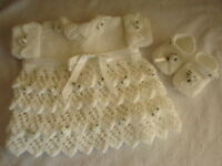BABY OR REBORN LAYERS OF LACE DRESS, KNITTING PATTERN