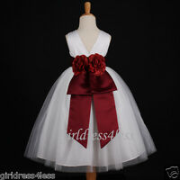 WHITE/BURGUNDY WINE PARTY FLOWER GIRL DRESS 12M-18M 2/2T 3/4 5/6/6X 7/8 9/10 12