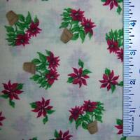 HALF YARD Christmas Poinsettia Holiday Red Floral Cotton Fabric By the Half Yard