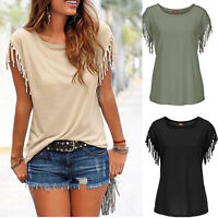 Summer Women Tassel Fringe Cotton Shirt Blouse Casual Loose Top Short Sleeve Tee