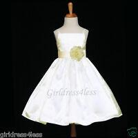 IVORY SPAGHETTI STRAPS JR BRIDESMAID WEDDING FLOWER GIRL DRESS 18M 2 4 6 8 10 12