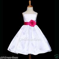 WHITE/FUCHSIA HOT PINK DANCE GOWN FLOWER GIRL DRESS 12M 18M 2 4 5/6/6X 7/8 10 12