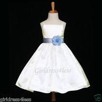 IVORY/SKY BLUE SPAGHETTI STRAPS WEDDING FLOWER GIRL DRESS 12M 18M 2 4 6 8 10 12