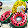 Inflatable Watermelon Swim Ring Summer Swimming Pool Toy Kids Adults Float