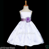 WHITE/LILAC LAVENDER BRIDESMAIDS WEDDING FLOWER GIRL DRESS 12M 18M 2 4 6 8 10 12