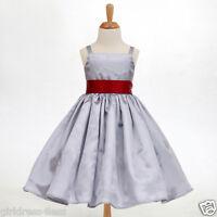 SILVER/GRAY SPAGHETTI STRAPS HOLIDAY FLOWER GIRL DRESS 12-18M 2 3/4 5/6 8 10 12