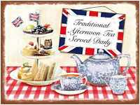 Traditional Afternoon Tea metal advertising sign 15x20cm wall plaque