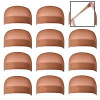 12 Pack BROWN Nylon Wig Caps Stretchy Close End Stocking FREE SHIPPING