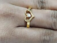 0.10 Ct 14K Yellow Gold Over  Round Cut Heart Diamond Engagement & Wedding Ring