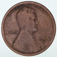 1913 S Lincoln Wheat Cent Harshly Cleaned Retoning Good Details