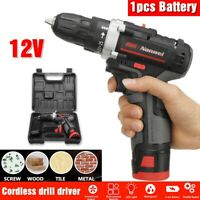12V  Cordless Drill Driver Dual Speed Screwdriver Li-Ion Battery LED Worklight