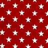 "COTTON 100% CURTAIN CLOTH UPHOLSTERY FABRIC 10MM WHITE STAR ALLOVER ON RED 44""W"