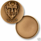 """JUST DO IT THE DEVIL BRONZE ENGRAVABLE MADE IN USA 1.75"""" CHALLENGE COIN"""