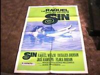 SIN MOVIE POSTER 1970 RAQUEL WELCH RARE