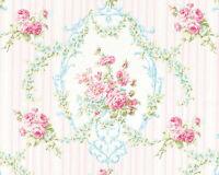 "SOFT COTTON BEDDING CLOTH FABRIC ELEGANT ROSE FLORAL DAMASK STRIPE 44""W BY YARD"