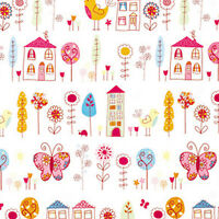 """SOFT COTTON 100% BEDDING CLOTH CHILDREN BABY FABRIC BUTTERFLY FLORAL PINK 44""""W"""