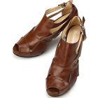Open Toe High Heel Womens Brown Shoes