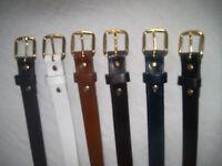 Mens leather belt black brown tan grey navy white