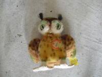 "Vintage Mohair Steiff Wittie Owl Animal 4"" Tall LOOK"