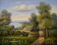Quality Hand Painted Oil Painting Landscape – Woods and River 8x10in