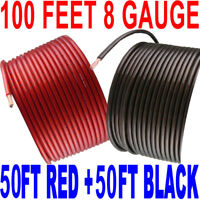 100' ft Total 8 Gauge 50' BLACK and 50' RED Car Audio Power Ground Wire Cable