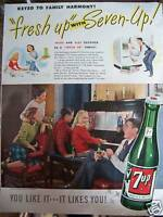 1947 7 UP Seven Up Soda Girl Playing Piano Ad