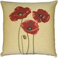"""NEW 18"""" TAPESTRY CUSHION COVER (3 POPPIES) 4864, BEAUTIFUL BELGIAN TAPESTRIES"""