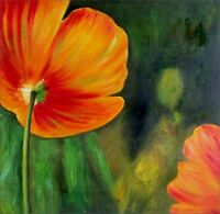Red Poppy, Ex. Large Modern Hand Painted Oil Painting 30x30in