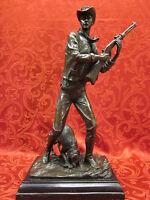 Art Deco Bronze Sculpture Statue Figure Cowboy & Dog Hunter Gift