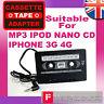 CAR CASSETTE TAPE ADAPTER FOR  IPHONE 3GS/4G MP3 IPOD NANO CD CREATIVE CASSETE