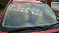 for sale car sales selfcling  window screen stickers displays and slogans