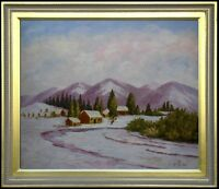 Framed Snowing Mountain Foot with Cottages, Hand Painted Oil Painting 20x24in