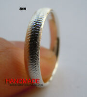 Handmade 3mm Mens/Ladies Solid 925 Sterling Silver Plain Band Ring Size 4-16