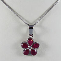 18K WHITE GOLD NECKLACE, FLOWER PENDANT WITH DIAMONDS CT0.27 RUBY, MADE IN ITALY
