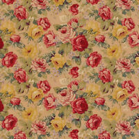 """COTTON RETRO ANTIQUE CHIC CURTAIN UPHOLSTERY FABRIC ROSE FLORAL RED BLUE 44""""W"""