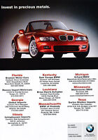 2001 BMW Z3 Roadster - precious metals - Classic Vintage Advertisement Ad PE99