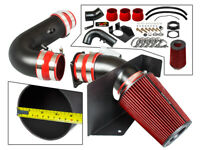 Heat Shield Cold Air Intake System Matt Black + RED For 97-99 F250 Navigator V8