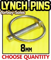 8mm Lynch Pins Linch Clips Trailer Digger Tractor Excavator Spring x10 or x50