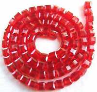 """6mm red glass Quartz Cube Faceted 100 Beads """""""