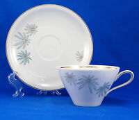 Schirnding SCG85 Flat Cup and Saucer Set 2 in. Blue Palms Leaves Gold Trim White