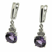 925 Sterling Silver 5.20 ct Natural Amethysts & White CZ Dangle Earrings
