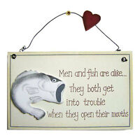 Retro Vintage Men and Fish are alike Wooden Novelty Funny 2D Wall Sign