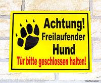 Achtung freilaufender Hund,30 x 20 cm x 2 mm, Alu-Verbund,Hundeschild,Warnschild