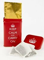Keep Calm And Carry On/Red/Souvenir/English/Tea/Teabags/Tea Bags/Gift/Tin/New