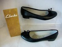 Ladies Clarks Carousel Ride Black Leather Slip On Ballerina Style Shoes