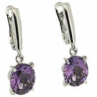 925 Sterling Silver 5.0 ct Natural Amethysts & White CZ Elegant Earrings